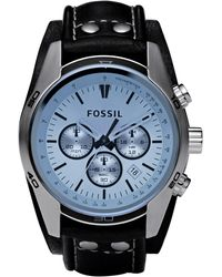 Fossil - Ch2564 Coachman Black Leather Mens Watch - Lyst
