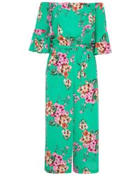 Quiz - Green And Pink Floral Frill Sleeve Jumpsuit - Lyst