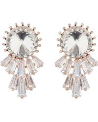 Mikey - Round Cubiic Baugette Sun Rays Earring - Lyst