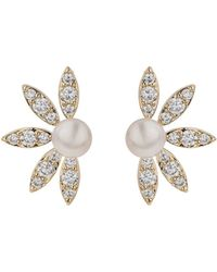 Mikey - Half Crescent Cubic Pearl Stud Earring - Lyst