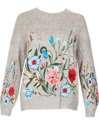 Tenki - Knitted Round Neck Embroidered Jumper - Lyst