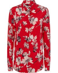 Jaeger - Brushstroke Floral Button Through Silk B - Lyst
