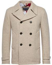 Tommy Hilfiger   Men's Jersey Peacoat Coat   Lyst