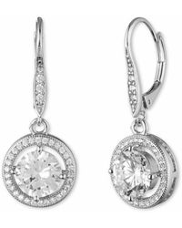 Anne Klein - Pave And Faceted Cubic Zirconia Earrings - Lyst