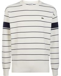 Lacoste - Men's Crew Neck Contrast Bands Striped Milano Cotton Sw - Lyst