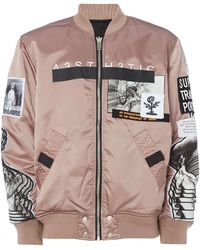 DIESEL Patchwork Reversible Bomber Jacket - Pink