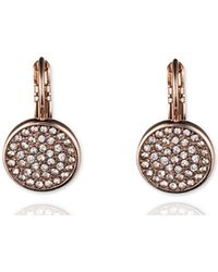Anne Klein - Pave Drop Disc Button Earrings - Lyst