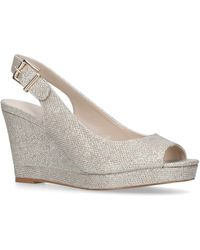 Nine West - Gold 'dionne' Mid Heel Wedge Sandals - Lyst