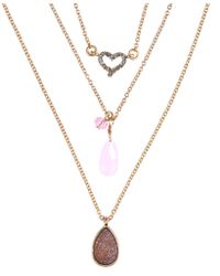 Lonna & Lilly - Set Of Three Rose Necklaces - Lyst