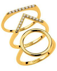 KENZO - 24909010805 Gold Plated And Cz Ring - Lyst