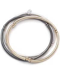 Nine West - Tri-tone Set Of 3 Stretch Bangle Bracelets - Lyst