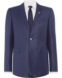 Ted Baker - Hopski Slim Blue Gingham Suit Jacket - Lyst