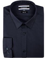 Limehaus - Men's Navy Poplin Forward Point Shirt - Lyst