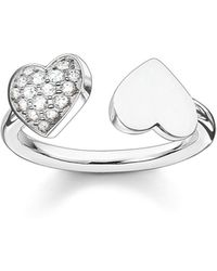 Thomas Sabo - Classic Silver Open Double Heart Ring - Lyst