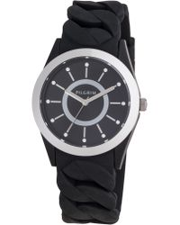 Pilgrim - Silver Plated Black Silicon Watch - Lyst