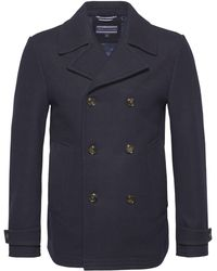 Tommy Hilfiger   Men's Tartan Lined Double Breasted Peacoat   Lyst