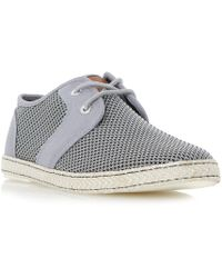 Dune - Grey 'fenntons' Mesh Detail Lace Up Canvas Shoes - Lyst