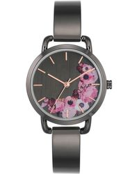 Nine West - Metal Floral Bangle Watch - Lyst