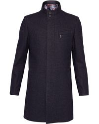 Ted Baker - Marvin Wool Funnel Neck Overcoat - Lyst