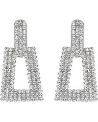 Mikey - Triangle Design Crystal Studded Earring - Lyst