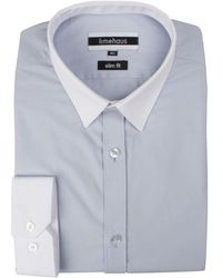 Limehaus - Men's Blue Tipped Poplin Forward Point Shirt - Lyst