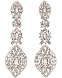 Mikey - Crystal Embed Oval Drop Earring - Lyst
