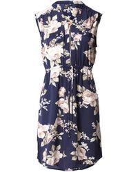 Izabel London - Rose Print Zip Detail Mini Dress - Lyst