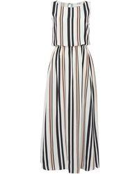 BOSS - Sleeveless Silk Striped Maxi Dress - Lyst