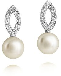 Jersey Pearl | Freshwater Pearls & White Topaz Earrings | Lyst
