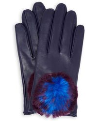 Ted Baker - Leather Pom Pom Gloves - Lyst