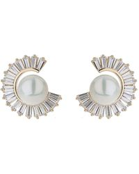 Mikey - Cubic Baugette Cresecent Pearl Earring - Lyst