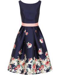 Chi Chi London - Digital Floral Block Print Midi Dress - Lyst