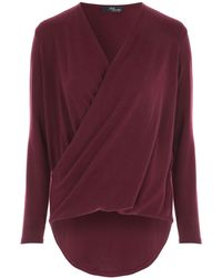 Jane Norman - Berry Wrap Front Jumper - Lyst