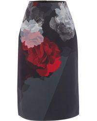 Ellen Tracy - Rose Print Skirt - Lyst