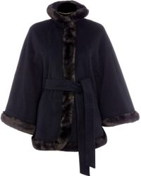 Ellen Tracy - Wool Cape With Faux Fur Detail - Lyst