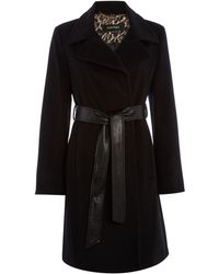 Ellen Tracy - Wool Trench With Faux Leather Belt - Lyst