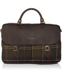 Barbour - Waxed Tartan Briefcase - Lyst