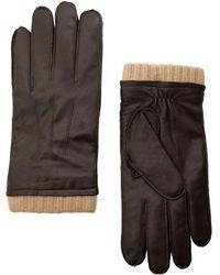 Mango - Leather Wool-blend Gloves - Lyst