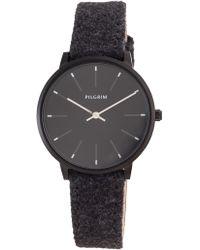 Pilgrim - Hematite Colour Black Wool Band Watch - Lyst