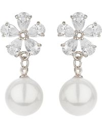 Mikey - Flower Design Hanging Pearl Earring - Lyst