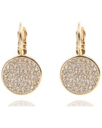 Anne Klein | Pave Drop Disc Button Earrings | Lyst