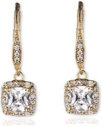 Anne Klein - Single Stone Drop Pave Earrings - Lyst