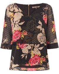 Biba - Floral Printed Overlay Blouse - Lyst