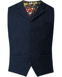 Gibson - Men's Navy Textured Waistcoat - Lyst
