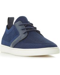Dune - Navy 'terminal' Knitted Lace Up Trainers - Lyst