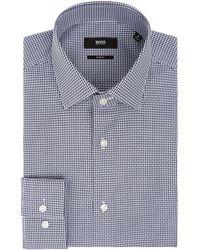 BOSS | Men's Ismo Slim Fit Geo Grid Texture Shirt | Lyst