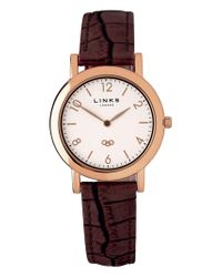 Links of London - Noble Slim Brown Leather Watch - Lyst
