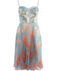 Karen Millen - Pleated Midi Dress - Lyst