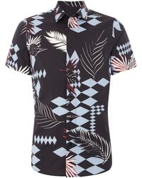 Versace Jeans - Men's Diamond Leaf Print Short Sleeve Shirt - Lyst