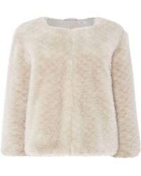 Issa - Chloe Faux Fur Cropped Jacket - Lyst